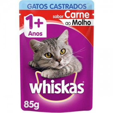 Sachê Whiskas para Gatos Castrados Sabor Carne - 85g