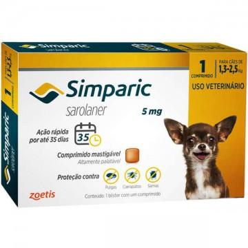 Antipulgas e Carrapatos Simparic 5 mg para cães de 1,3 a 2,5kg