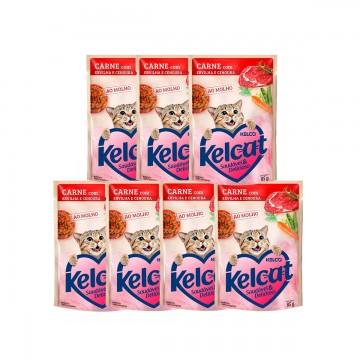 Sachê Kelcat para Gatos Sabor Carne 85g - 7 unidades
