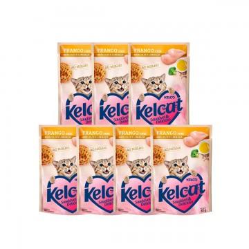 Sachê Kelcat para Gatos Sabor Frango 85g - 7 unidades