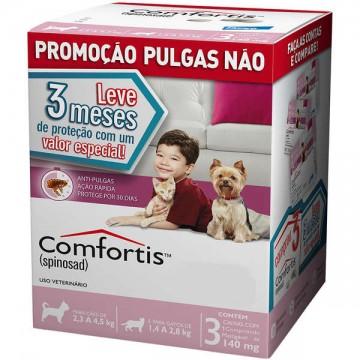 Antipulgas Comfortis 140mg para Cães de 2,3 a 4kg e Gatos de 1,4 a 2,8kg - 3 comprimidos