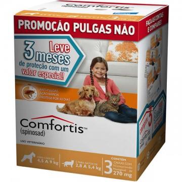 Antipulgas Comfortis 270 mg para Cães de 4,5 a 9kg e Gatos de 2,8 a 5,4kg - 3 comprimidos