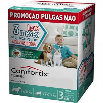 Antipulgas Comfortis 560mg para Cães de 9 a 18kg e Gatos de 5,5 a 11kg - 3 comprimidos