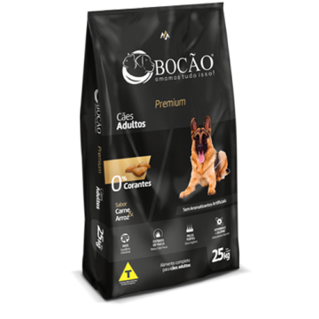 Ração Bocão Premium Cães Adultos Carne e Arroz - 25kg + Vermífugo de Brinde