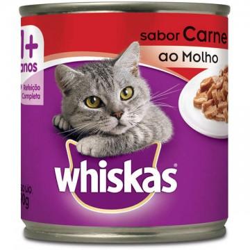 Whiskas Lata para Gatos Adultos Sabor Carne ao Molho - 290g