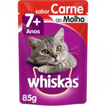 Sachê Whiskas para Gatos Adultos 7+ Sabor Carne ao Molho - 85g