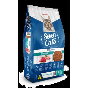 Ração Seven Cats Gatos Castrados Frango e Carne - 10,1kg + 3 Areias de Brinde