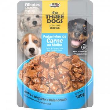 Sachê Three Dogs para Cães Filhotes Sabor Pedacinhos de Carne ao Molho - 100g