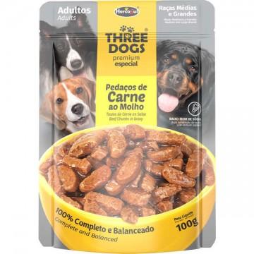 Sachê Three Dogs para Cães Adultos de Porte Médio e Grande Sabor Pedaços de Carne ao Molho - 100g