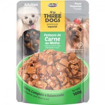 Sachê Three Dogs para Cães Adultos de Raças Pequenas Sabor Pedaços de Carne ao Molho - 100g