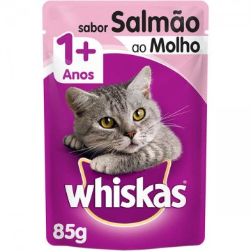Sachê Whiskas para Gatos Adultos Sabor Salmão ao Molho - 85g